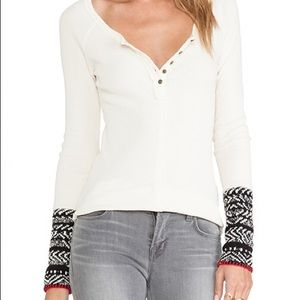 Free People Alpine Cuff Thermal Henley Ivory M